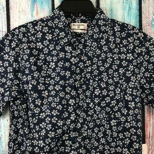Billabong Men's Blue Floral Short Sleeve